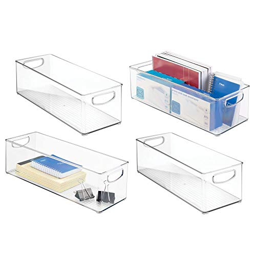 mDesign Large Stackable Plastic Storage Bin Container, Home Office Desk and Drawer Organizer Tote with Handles - Holds Gel Pens, Erasers, Tape, Pens, Pencils, Markers - 16 Long, 4 Pack - Clear