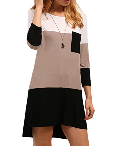 Oyanus Women's Casual 3/4 Sleeve Color Block High Low Plain T-Shirt Dress Pink XL