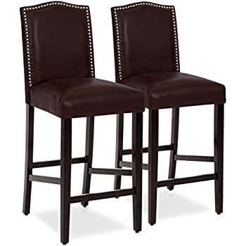 Amazon Com Baxton Studio Flavia Leather Barstools Dark