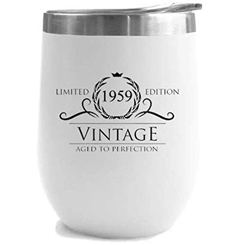 1959 60th Birthday Gifts for Women Men | Vintage Aged to Perfection Stainless Steel Tumbler | 12 oz White Tumblers w Lid | Funny Gift Ideas for Him Her Husband Wife Mom Dad | Insulated Cups 60 th bday]()