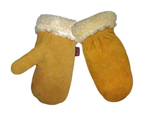KINCO 1929PL-Y Child's Lined Gloves, Deerskin Mitten, Ages 7-12, Youth, Golden