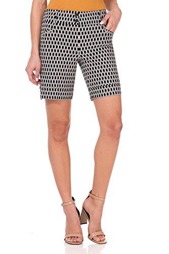 - Rekucci Women's Ease Into Comfort 8 inch Chic Urban Short (4,Black/White Geo Chain)