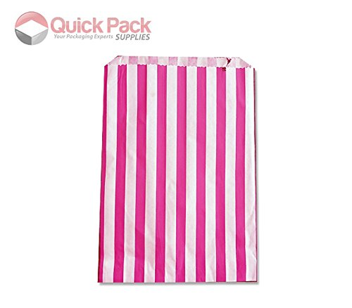 30 Pack – 5″ x 7″ Pink Sweet Striped Paper Bags