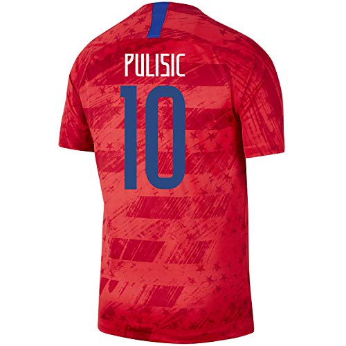 PULISIC #10 USA Away Men's Soccer Jersey 2019/20-RED (L) ()