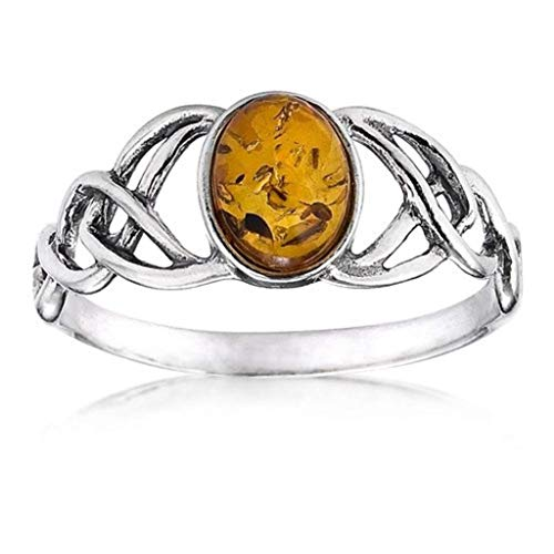Amber Sterling Silver Oval Celtic Knots Ring (Amber Yellow Brooch)