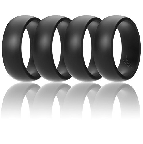 ROQ Silicone Wedding Ring for Men Affordable Silicone Rubber Band, 4 Pack - Black - Size 10 by ROQ