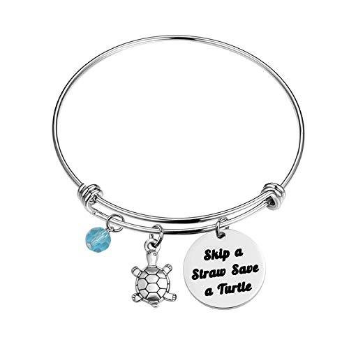 (BNQL Skip A Straw Save A Turtle Bracelet Environmental Awareness Earth Gift Turtle Lover Gift (Bracelet S))