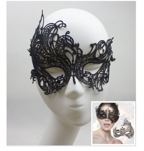 Spotlight Womens Pirate Costume (JUNGSON--vintage Black Cutout Lace Prom Masquerade Halloween Women Party Half Eye Mask)