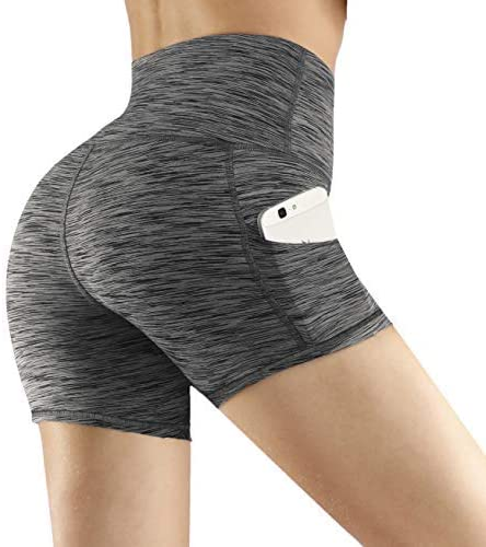 Fengbay High Waist Yoga Shorts, Workout Running Shorts with Side Pockets Tummy Control Compression Shorts for Women