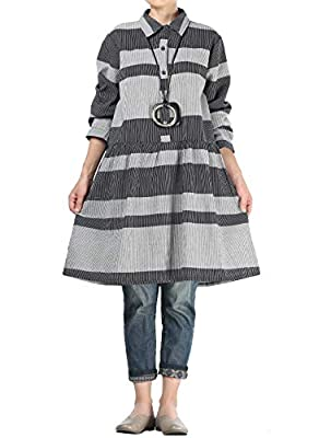Mordenmiss Women's Color Block Dresses Long Sleeve Plaid Shirt Blouses with Pockets