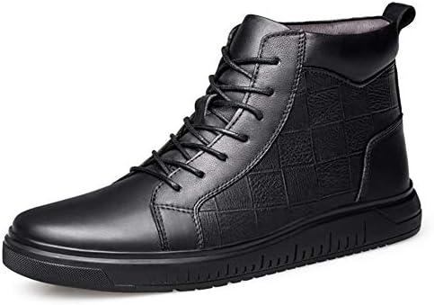 男性用ハイトップスケートスニーカーアンクルブーツグリッドエンボスレースアップ本革フラット滑り止め丸いつま先(内側フリースオプション) YueB HAA (Color : Black-Fleece Inside, サイズ : 23 CM)