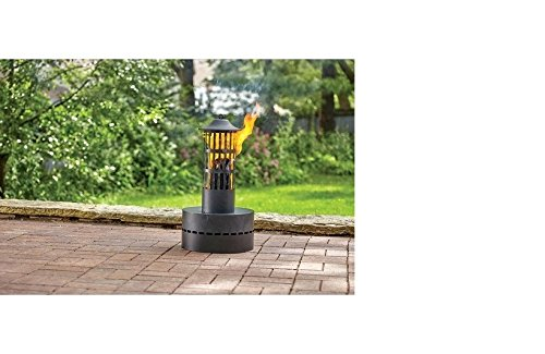 Durable and Stylish HY-C Wood Fire Log Tower 18-1/4 in. H x 14-1/4 in. W Steel,Sturdy Pedestal Base and Ash Pan Included,Black