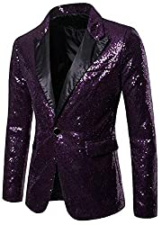 Men Sequin One Button Purple XS Jacket
