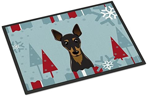 Caroline s Treasures BB1736JMAT Winter Holiday Min Pin Indoor or Outdoor Mat 24×36, 24H X 36W, Multicolor