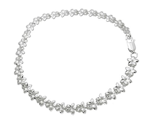 (Solid 14k white gold Hawaiian plumeria flower bracelet diamond cut 6mm 7