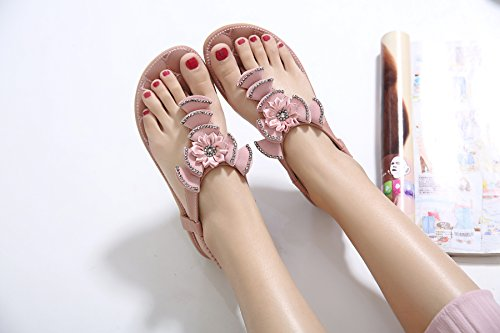 Rhinestone Con Brillante Mujer Zapatos Perla Rosado 34 Speedeve De 40 Sandalias Flor Verano nXzxqz8wR