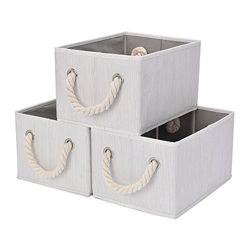 StorageWorks Storage Bins with Cotton Rope Handles, Foldable Storage Basket, White, Bamboo Style, 3-Pack, Large,14.4x10.0x8.3 inches (LxWxH)