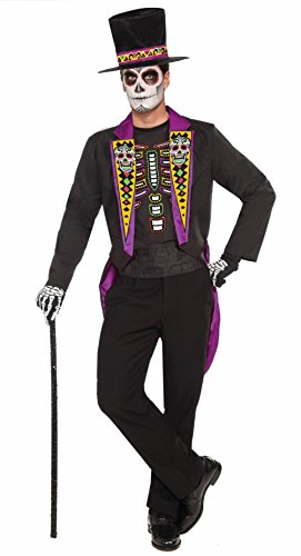 [Day Of The Dead Formal Tailcoat Jacket Hat Shirt Adult Halloween Costume std-xl] (Womens Tailcoat Costume)