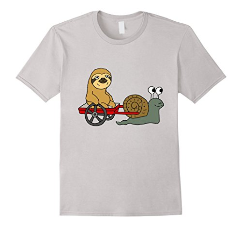 Smiletodaytees Sloth In Red Wagon Pulled By Snail T-Shirt -