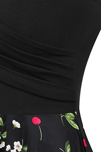 12 Sleeve Cap V Midi Women's Summer Neck Floral Dress Yeslife Casual pRvFw1q