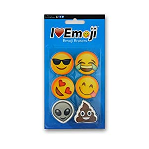 Emoji Eraser | Smile, Heart Eyes, Sunglasses, Poo | Emoticon Variety 6-Pack (Set #2)