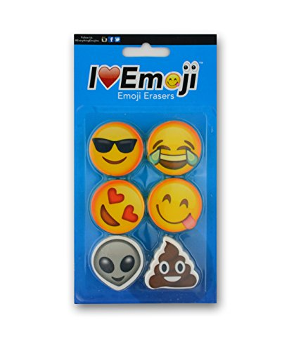 Emoji Eraser | Smile, Heart Eyes, Sunglasses, Poo | Emoticon Variety 6-Pack (Set - Emoticon Sunglasses