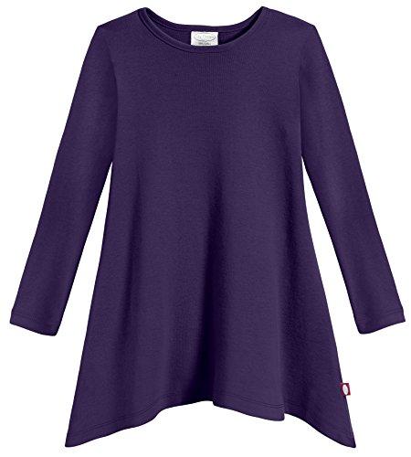 Thermal Girls Top Long Sleeve (City Threads Girls Shark Bite Long Sleeve Tunic Top Blouse Shirt Stylish Modern All Cotton For Sensitive Skins SPD Sensory Friendly, Purple, 7)