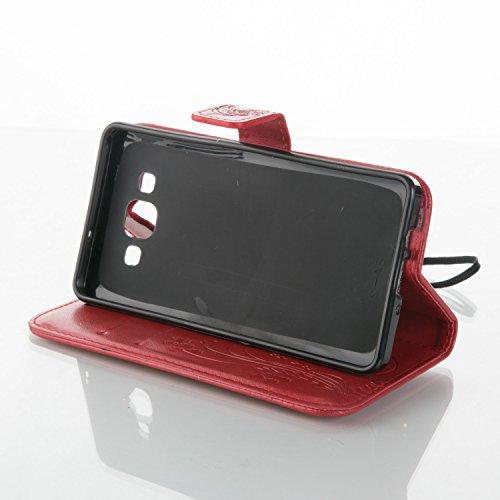SRY-Funda móvil Samsung Funda Samsung Galaxy A5, estuche rígido retro de folio en forma de caja con correa para la mano Funda Protecitve Shell para Samsung Galaxy A5 ( Color : Dark Blue , Size : SAMSU Red