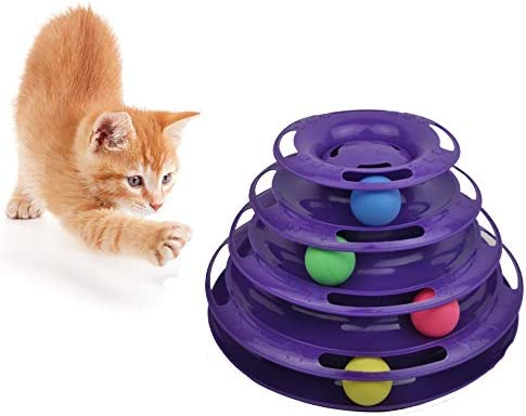 Purrfect Feline Titan's Tower - New Safer Bar Design, Interactive Cat Ball Toy, Exerciser Game, Teaser, Anti-Slip, Active Healthy Lifestyle, Suitable for Multiple Cats 2