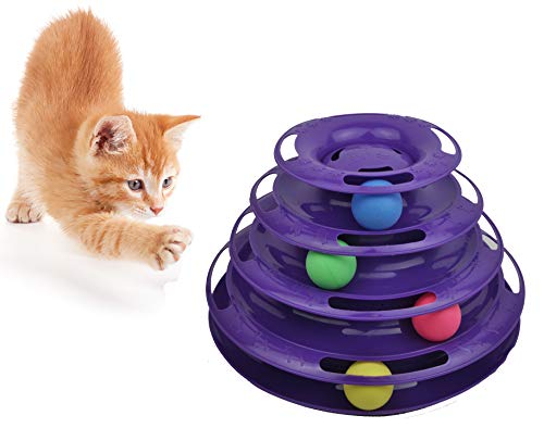 Purrfect Feline Titan's Tower - New Safer Bar Design, Interactive Cat Ball Toy, Exerciser Game, Teaser, Anti-Slip, Active Healthy Lifestyle, Suitable for Multiple Cats 4 Tier (4 Level, Purple)