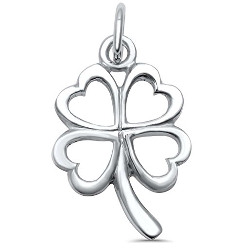 4 Four Sterling Silver Charm - Sterling Silver Plain Solid Four Leaf Clover Good Luck Charm Pendant