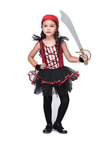 C.X Trendy Little Girls' Cute Pirate Girl Costume Set Halloween Concepts (M(5-7), Girl's Pirate)