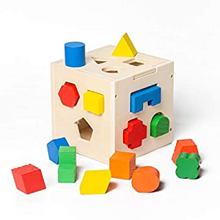 Refasy Wooden Toys for Toddlers 1-3,Shape Sorter Toy Wooden Geometric Shape Puzzle Building Blocks for Kid Shape Sorting Cube Matching Sorting Gifts for Boy Educational Learning Toy Best Birthday Gift