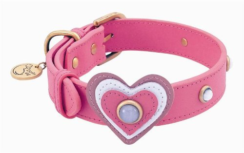 White Cat Eye Heart Leather Dog Collar - Extra Large