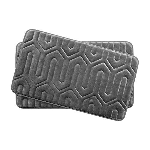 Bounce Comfort Extra Thick Memory Foam Bath Mat Set - Thea Premium Plush 2 Piece Set with BounceComfort Technology, 17 x 24 in. Dark Grey -  Bath Studio, YMB003725