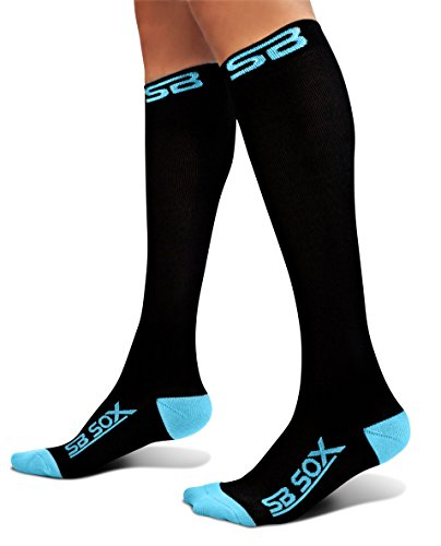 Youth Ice Hockey Shin Guards (SB SOX Compression Socks (20-30mmHg) for Men & Women - BEST Socks for Running, Medical, Athletic, Varicose Veins, Travel, Pregnancy, Shin Splints, Nursing. (Black/Blue, Small))