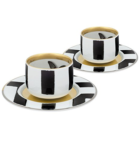 VISTA ALEGRE - Sol y Sombra by Christian Lacroix (Ref # 21118979) Porcelain Gift Box Set 2 Cofee Cups & Saucers by Unknown