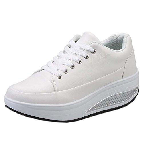 Solshine Damen Einfach Schnürer mit Keilabsatz Plateau Sportschuhe Sneaker Freizeitschuhe White