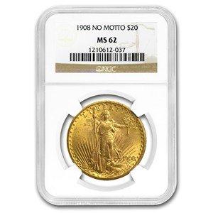 - 1908 St Gaudens $20 MS62 NGC