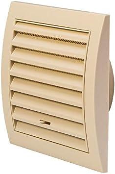 Rejilla de ventilación de 100 mm de diámetro, color crema, 150 x 150 mm, con control deslizante, rejilla de protección contra insectos, rejilla de plástico ABS