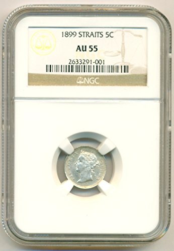 - 1899 MY Straits Settlements (Malaysia) - Victoria Silver 5 Cents AU55 NGC