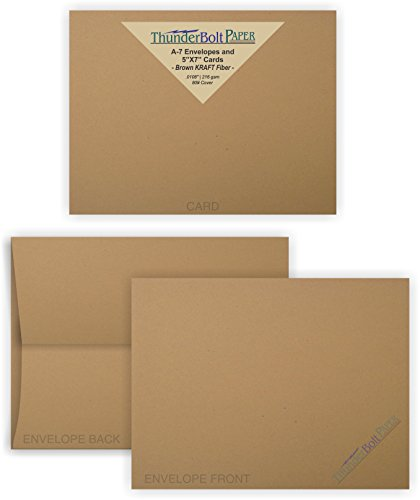 5X7 Blank Cards with A-7 Envelopes - Brown Kraft Fiber - 15 Sets - Matching Pack - Invitations, Greeting, Thank Yous, Notes, Holidays, Weddings, Birthdays, Announcements - 80# Cardstock ()