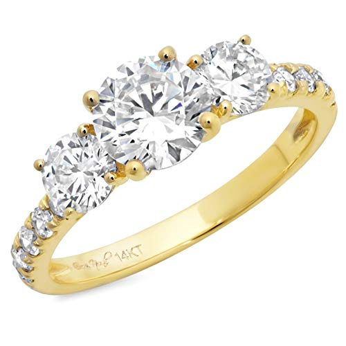 - 2 ct Round Cut Solitaire three stone With Accent Best Quality Moissanite Ideal VVS1 D & Simulated Diamond Engagement Promise Statement Anniversary Bridal Wedding Ring Solid 14k Yellow Gold, Size 6