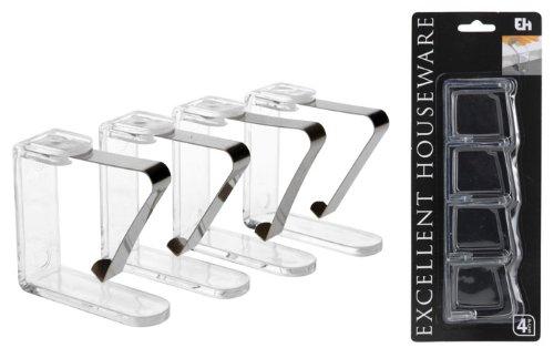 Tischdeckenklammern 4er-Set, Tischtuchhalter, Tischklammern, Tischdeckenhalter