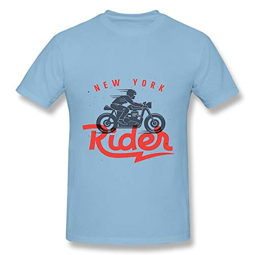 (T-Shirts Mens Superior Motorcycle Rider Cafe Racer Graphic Vintage Light Blue)