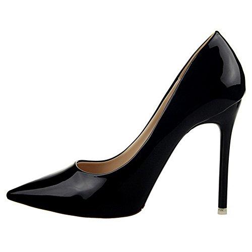 Amoonyfashion Womens Hoge Hakken Lakleder Pull-on Gesloten-teen Pumps-schoenen Zwart