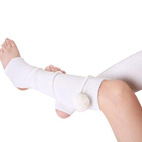 Oksale Women Autumn Winter Knitted Yoga Boot Socks Cover Leg Warmers (White)