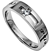 Purity Ring for Girls, Stainless Steel, Jesus Faith Quote on Beatitudes, Christian Bible Verse