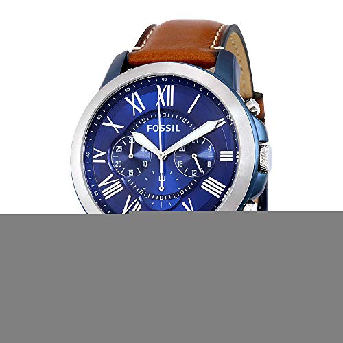 Fossil Mens Chronograph - Fossil Men's Grant Quartz Stainless Steel and Leather Chronograph Watch, Color: Blue, Brown (Model: FS5151)