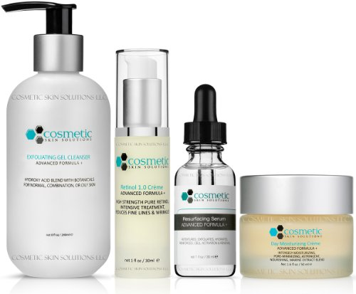 Cleanse | Correct | Resurface | Moisturize | 4 Combo Pack - Includes Luxurious Pore-refining & Exfoliating Cleanser (8 oz), Retinol 1.0 (1 oz), Resurfacing Serum (1 oz), Moisturizer (50g), Advanced Formula for MAXIMUM Effectiveness, Evening Use, No Parabe by Cosmetic Skin Solutions LLC